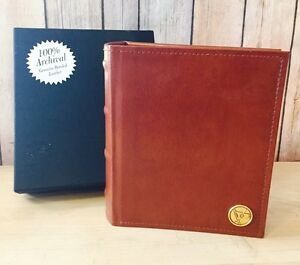 """NEW Panodia Saddle Leather 100 Page Photo Album 7x6"""" Archival Burgundy Brown"""