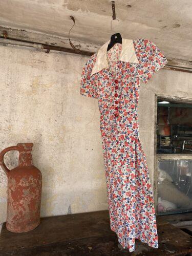 Antique 1930s Tulip Floral Print Cotton Midi Dress