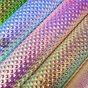 Faux Leather Crafts /& Bows Iridescent Crystal Textured Leatherette Fabric