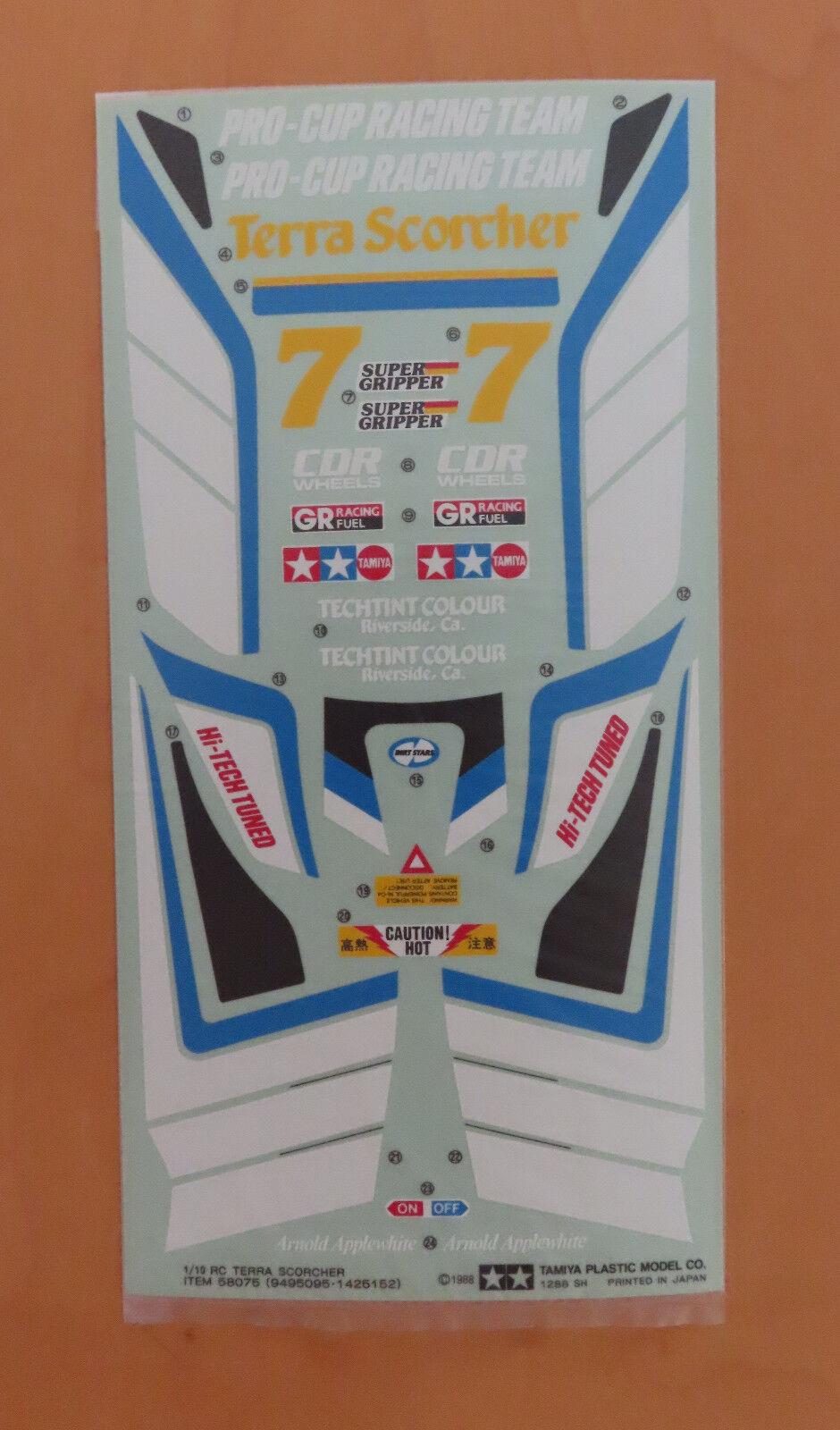 RC Tamiya Decalcomania Terra Scorcher 58075 NEU Nuovo con Scatola 1988