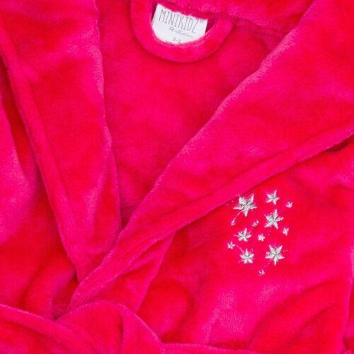 Minikidz Ragazze Con Cappuccio in Pile Super Peluche Accappatoio Vestaglia Rosa