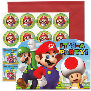 Super Mario Birthday Party Favors Invitations 8 eBay