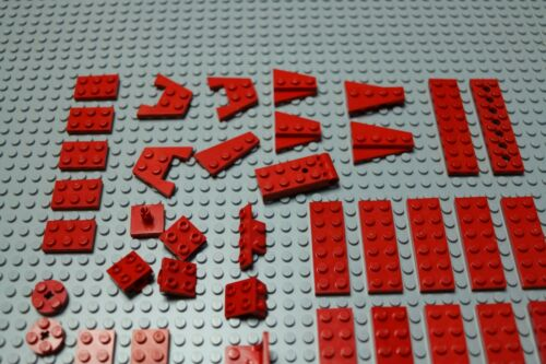 wedges hinges etc W156-9 90º plates Lego red plates 2x2,2x3,2x4,2x6,2x8