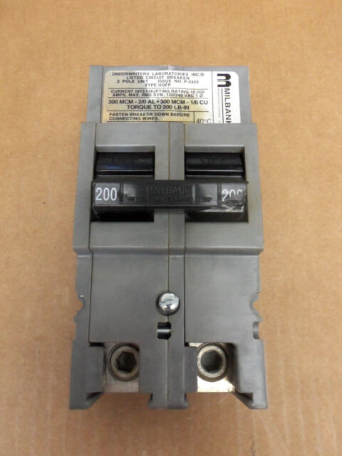 ZINSCO GTE Sylvania QFP QFP2200 2 POLE 120//240V 200 AMP CIRCUIT BREAKER flawed