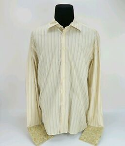 Ted Baker London Yellow Stripe Floral French Cuff mens button Dress Shirt size 6