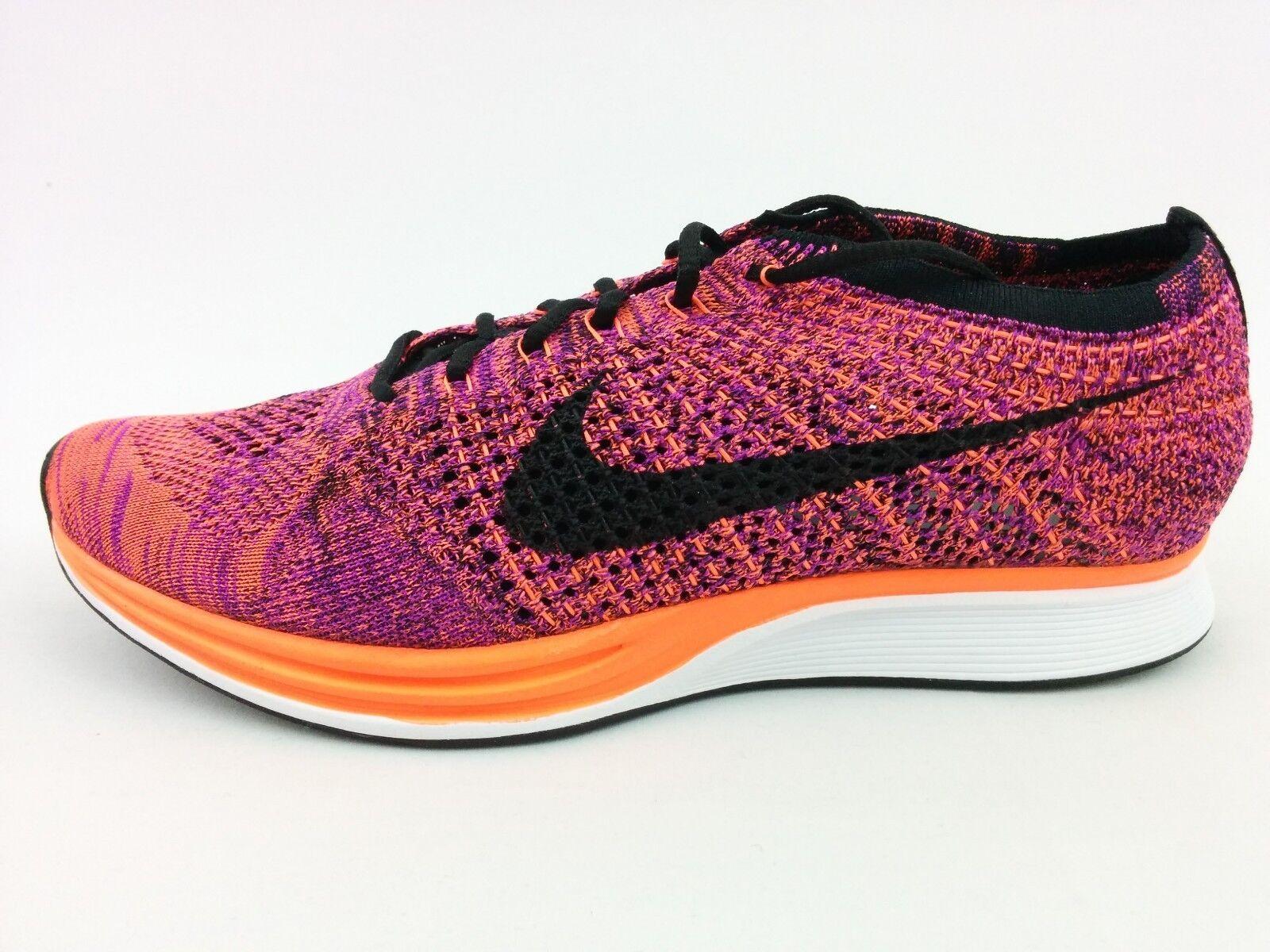 Nike Flyknit Racer Black Hyper Orange Vivid Purple SZ 10 /Wmn 11.5  (526628-008)