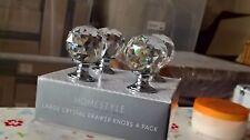 BNIB SET OF 4 CRYSTAL CUT GLASS DIAMOND EFFECT 30MM DOOR CABINET KNOBS HANDLES