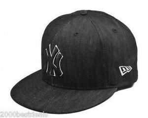 219f377c5c8 New Era 59Fifty Hat MLB New York Yankees Black White Denim Fitted ...