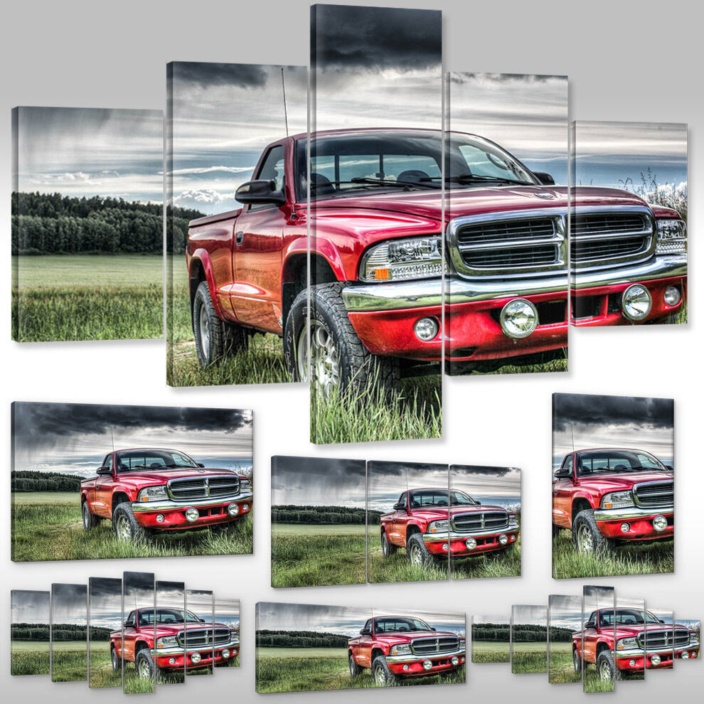 Leinwandbild Canvas Print Wandbilder Kunstdruck Wagen Pick up Auto Dodge Dakota