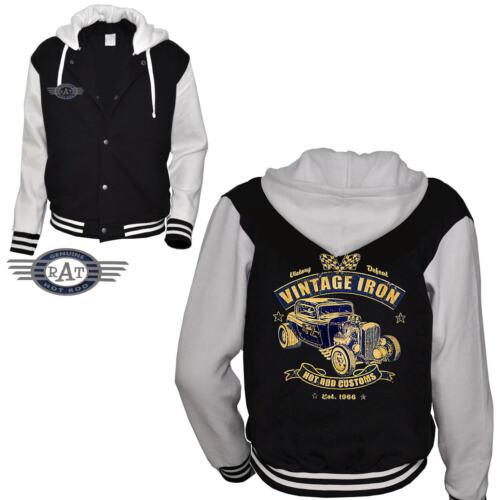 Kustom Hotrod 1288 Blouson Rockabilly Vintage À Baseball Veste Capuche qT7wf4