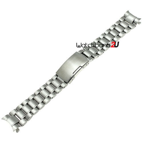 Curved End Stainless Steel Solid Links Bracelet Watch Band Strap 18 to 24 mm