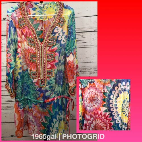 Barbara Gerwit Heavily Beaded Sheer Floral Tunic R