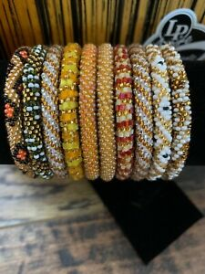 10 SET Nepal Rolls Glass Beaded bracelet crochet handmade bead bangle USA Exact