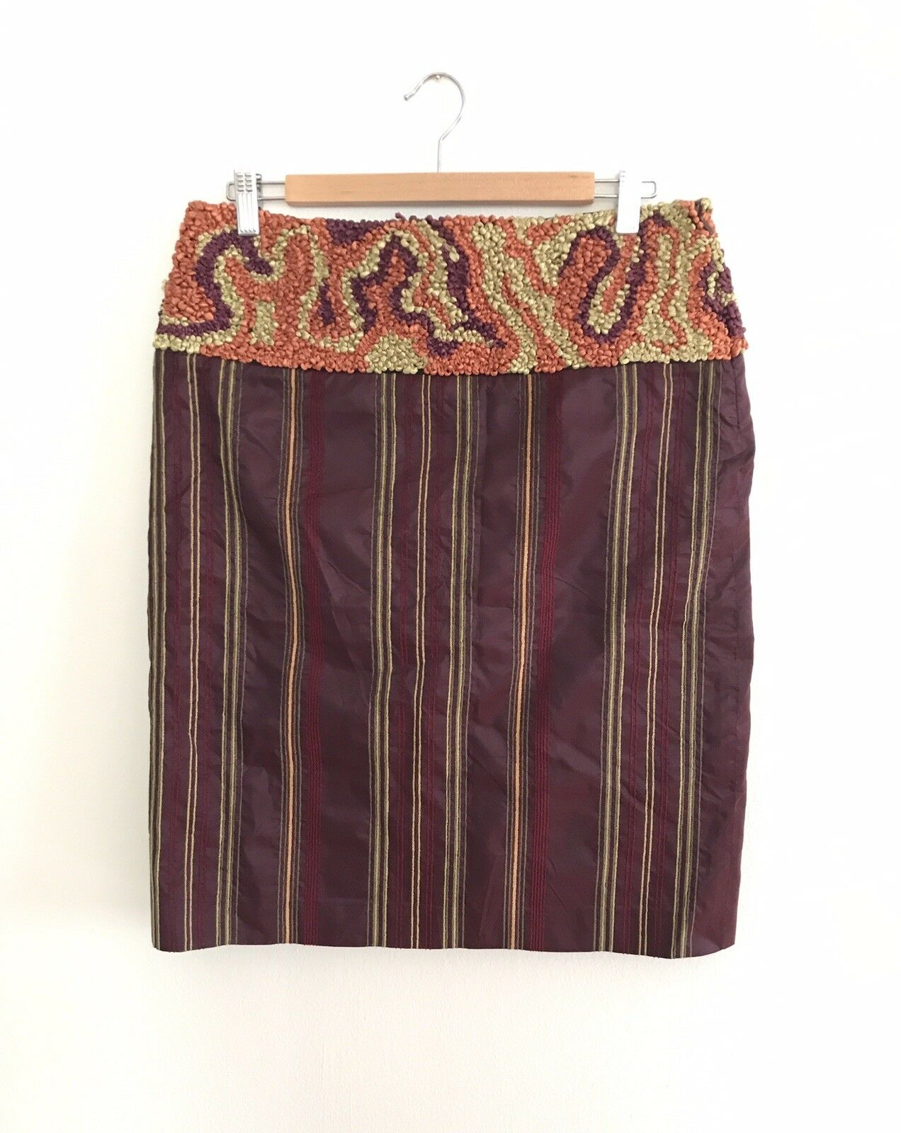 Etro silk hand embroidered skirt