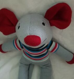 Dan-Dee-Knit-Sock-Mouse-Plush-Stuffed-Animal-Striped-Shirt-18-034