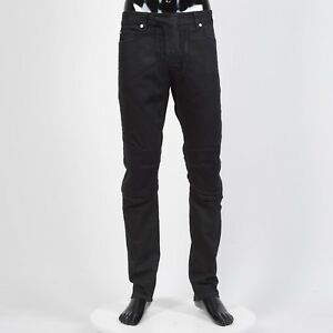 Details about BALMAIN 1195$ Skinny Biker Jeans In Black Stretch Cotton