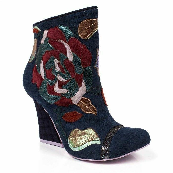 Irregular Choice 'Theodore' (A) Navy Zip Up High Heel Ankle Stiefel schuhe