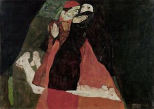 Cardinal-and-nun-by-Egon-Schiele-art-print-on-230gsm-photo-paper-choose-size