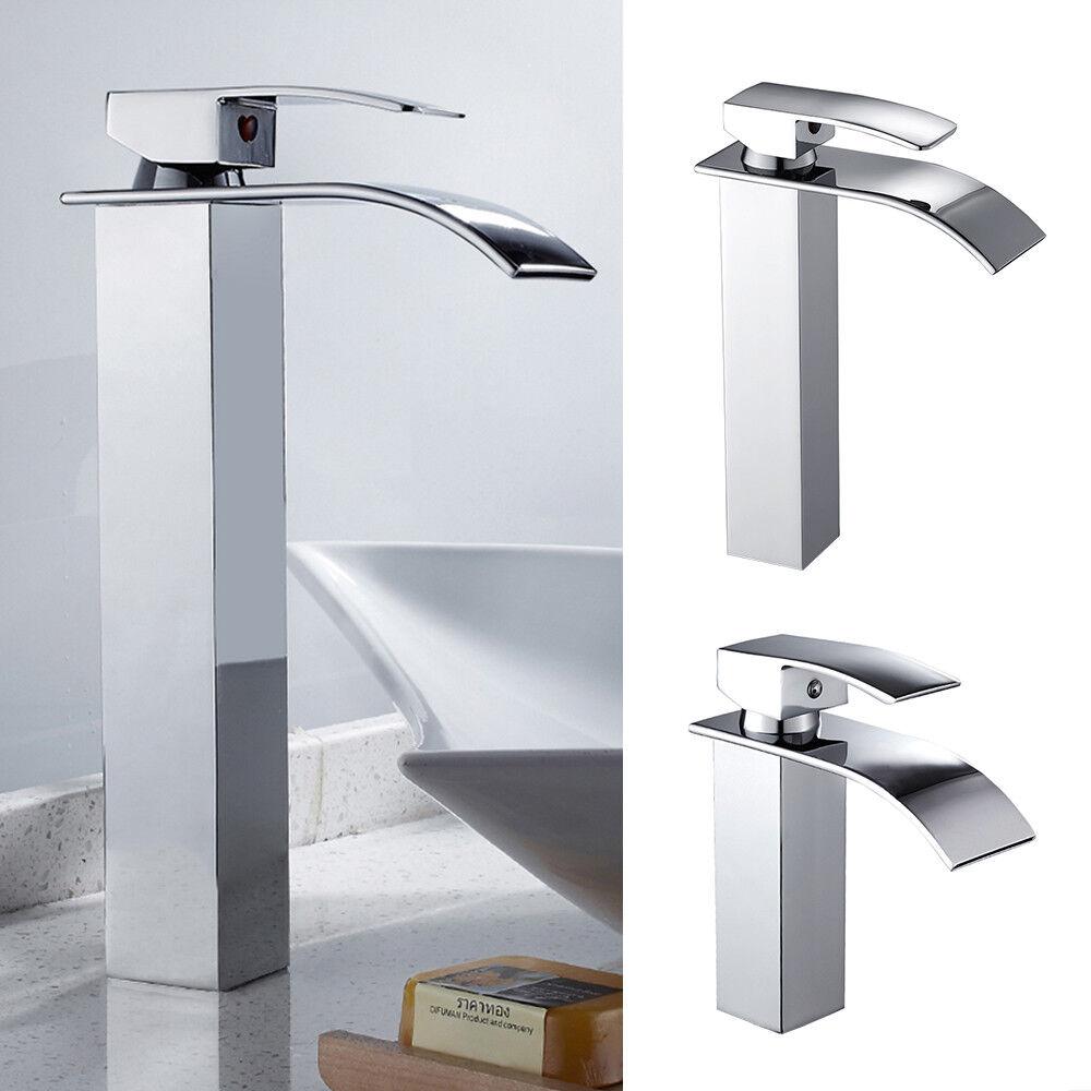Wasserarmatur Waschtischarmatur Wasserfall Mischbatterie Bad Hoch& kurz | Perfekt In Verarbeitung  | Elegant Und Würdevoll  | Hochwertig  | Am wirtschaftlichsten