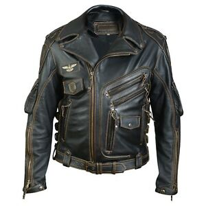 Mens Black Biker Real Cowhide Leather Jacket
