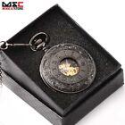 Vintage Black Roman Mechanical Windup Skeleton Pocket Watch Chain Steampunk Gift