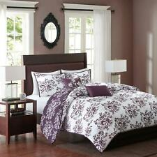 King 5 PC Comforter Bedding Set Deep Purple White Floral Filigree Blooms Design