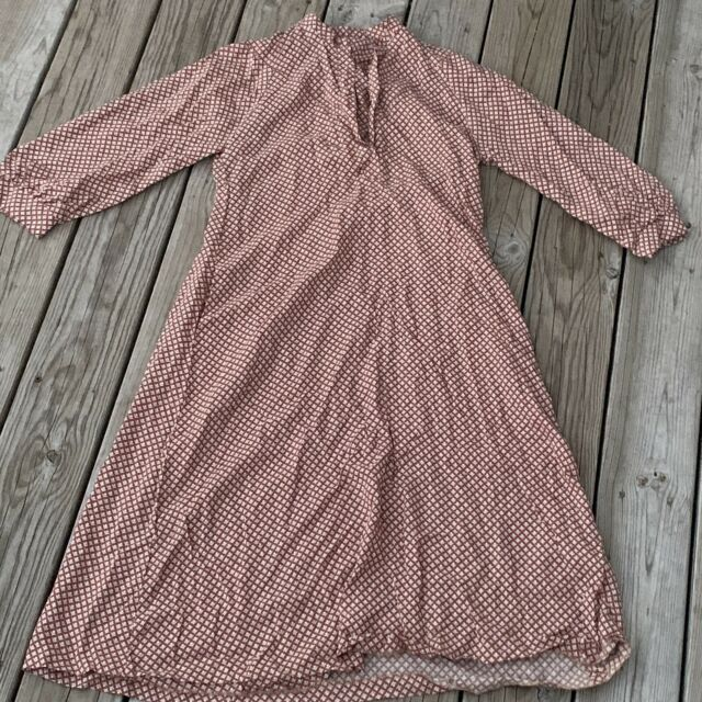 Vintage 1930's-1940's Size Large Brown Calico Print Long Sleeve Dress