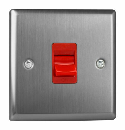 Varilight XT45S Classic Brushed Steel 45A DP Cooker Switch Single Plate