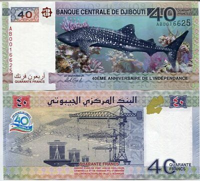 Shark Independence Comm. Djibouti 40 Francs 2017 40/'th Aniv Unc AD P-New