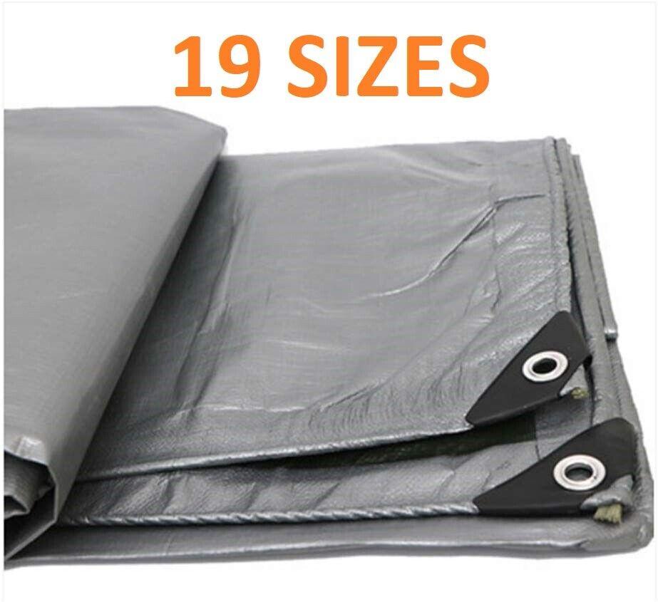 Tarpaulin Grey 160GSM Waterproof Cover Tarp Ground Camping Sheet Multipurpose