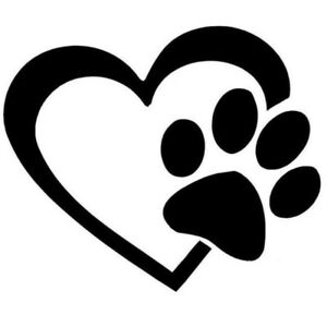 Sticker auto coeur patte de chien ebay - Image patte de chien gratuite ...