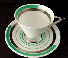"""Shelley Eve"""" Green and Silver Bands"""" coffee duo"""