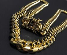 """Men Cuban Miami Link Chain Stainless Steel 14k Gold Plated 10mm 32"""""""