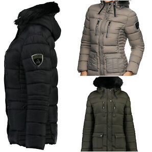 GEOGRAPHICAL NORWAY Damen Winterjacke Steppjacke Jacke Kapuze Parka warm S-XXL