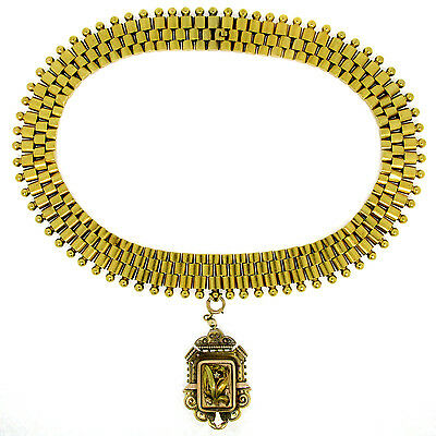 Antique Victorian 14k Green Gold Collar Necklace w/ Locket Enhancer Pendant