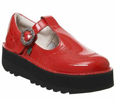 Bottines Femme Kickers Kick Trixie Barre en T Chaussures Rouge Cuir verni Chaussures | eBay