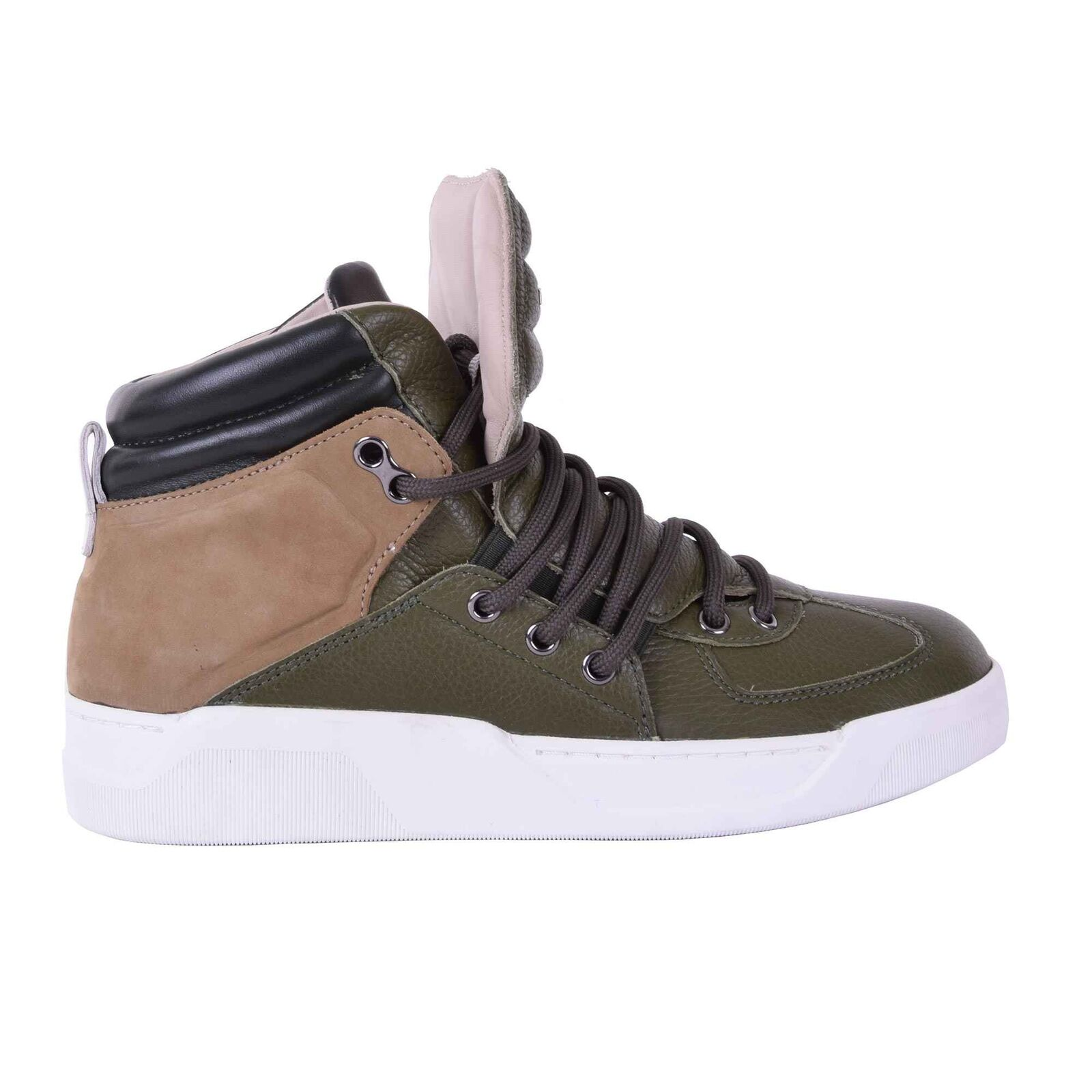 DOLCE & GABBANA High-Top Sneaker Shoes BENELUX Green Brown Made in Italy 05924