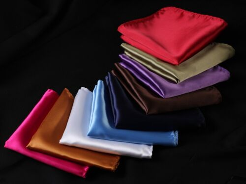 PA Solid Men Silk Satin Pocket Square Hanky Wedding Party Handkerchief