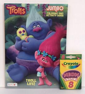 New-2-Piece-Set-Trolls-Jumbo-Coloring-amp-Activity-Book-and-8-Crayola-Neon-Crayons
