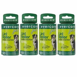 Evercare Refill for Extra Sticky Pet Hair Lint Roller, 4 Pack w/ 60 Sheets each