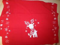 Sur La Table Christmas Red Embroidered Reindeer Large Cotton Kitchen Towel