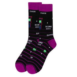 Men-039-s-Arcade-Novelty-Dress-Socks-Size-10-13-Men-Shoe-6-12-5-Black-Purple