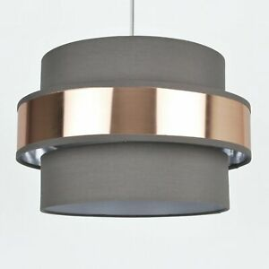 Easy-Fit-2-Tier-Grey-Fabric-amp-Brushed-Copper-Plated-Banded-Ceiling-Shade