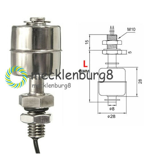45mm MINI Float Switch Indicator Vertical Water Level Sensor Stainless Steel