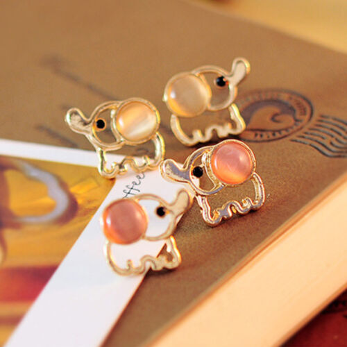 1 Pair Cute Sweet Elephant Cat/'s eye Stone Mini Women Stud Earrings