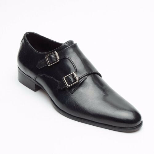 Mens Real Leather Smart Casual Double Buckle Strap Shoes