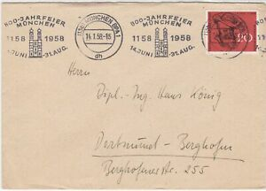 Germany 1958 Munich Cancels 800 Yrs Building Munich Slogan Stamps Cover Ref27910