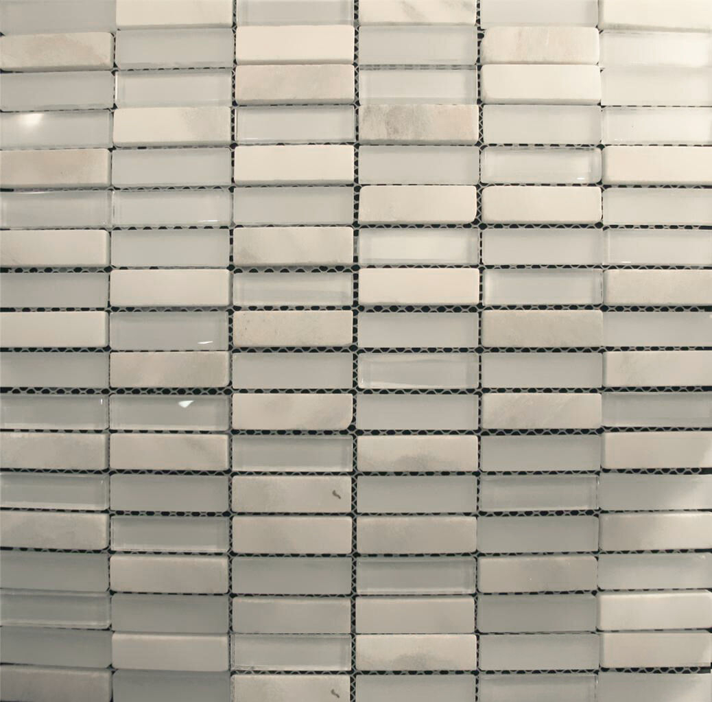 1sf White Marble Glass Mosaic Tile Blend For Kitchen Backsplash Bath Sink Spa For Sale Online
