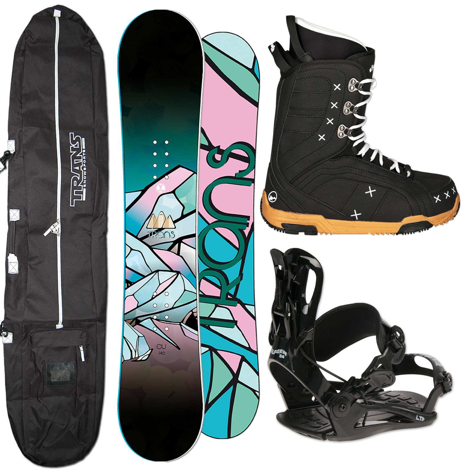 Ladies Camber Snowboard Trans Cu 147 cm + Fastec Binding SIZE M + Boots+ Bag