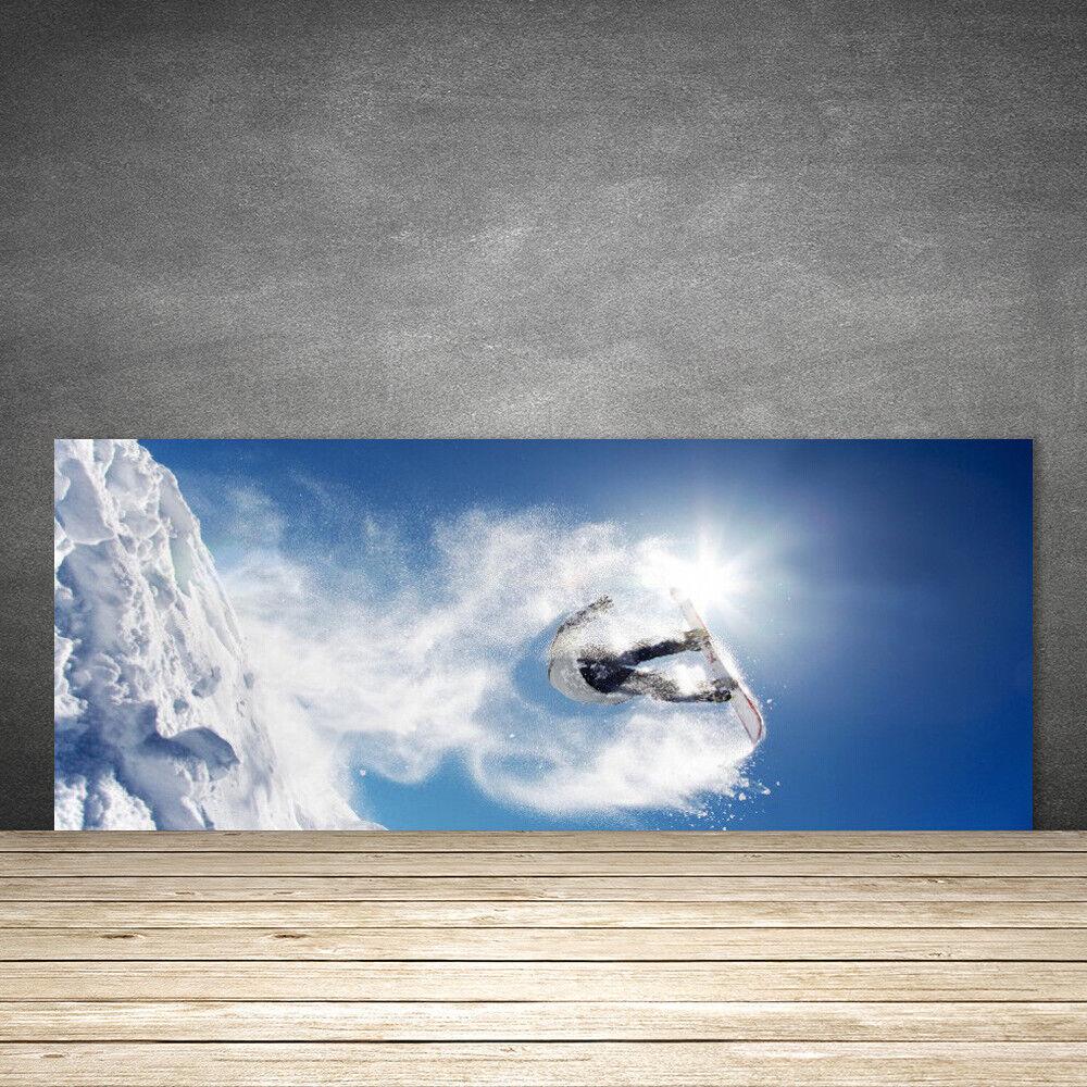 Crédence de cuisine en verre Panneau 125x50 Art Sports D'hiver Neige